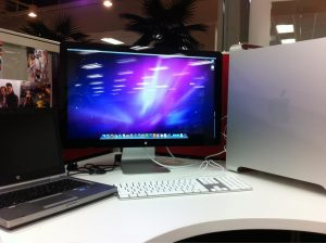 dream job - huge monitor and mac pro